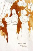 *634- Lavis teinte merisier La guinguette,20 x 30 sur papier Lana 150 gr