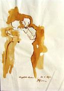*623- Lavis teinte merisier La guinguette,20 x 30 sur papier Lana 150 gr