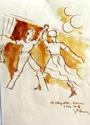 *653- Lavis teinte merisier La guinguette,20 x 30 sur papier Lana 150 gr