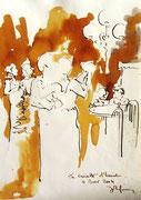 *584- Lavis teinte merisier La guinguette,20 x 30 sur papier Lana 150 gr