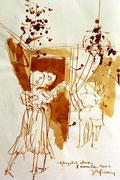 *646- Lavis teinte merisier La guinguette,20 x 30 sur papier Lana 150 gr