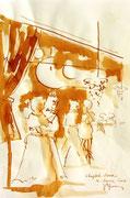 * 611- Lavis teinte merisier La guinguette,20 x 30 sur papier Lana 150 gr