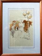 *664- Lavis teinte merisier La guinguette,20 x 30 sur papier Lana 150 gr