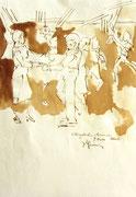 *627- Lavis teinte brou de noix. La guinguette,20 x 30 sur papier Lana 150 gr