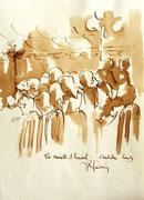 *575- Lavis teinte brou de noix. La guinguette,20 x 30 sur papier Lana 150 gr