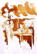 *602- Lavis teinte merisier La guinguette,20 x 30 sur papier Lana 150 gr