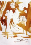 *608- Lavis teinte merisier La guinguette,20 x 30 sur papier Lana 150 gr