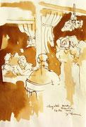 *598- Lavis teinte merisier La guinguette,20 x 30 sur papier Lana 150 gr