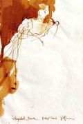 *647- Lavis teinte merisier La guinguette,20 x 30 sur papier Lana 150 gr