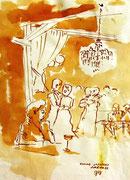 *651- Lavis teinte merisier La guinguette,20 x 30 sur papier Lana 150 gr