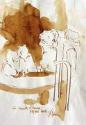 *559- Lavis teinte merisier La guinguette,20 x 30 sur papier Lana 150 gr