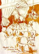 *652- Lavis teinte merisier La guinguette,20 x 30 sur papier Lana 150 gr