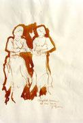 *632- Lavis teinte merisier La guinguette,20 x 30 sur papier Lana 150 gr