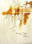 *578- Lavis teinte merisier La guinguette,20 x 30 sur papier Lana 150 gr