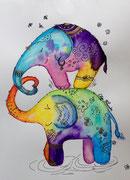 """""""Elefant"""" Aquarell A4"""