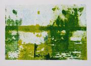 Spiegelung am Deich I (Transfer-Lithografie; Handabzug)