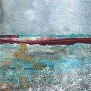 """""""unerwartet stürmisch/unexpectedly stormy"""", Textile Collage, 19 x 19 cm, Monoprint, 2015, verkauft"""