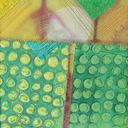 """Morgenlicht/Sunrise"", Textile Collage, 19 x 19 cm, Monoprint, Shibori, handgefärbte Stoffe, 2014"