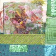 """im Garten #2"", Textile Collage, 19 x 19 cm, Fotoprint, Papierbatik, 2013"