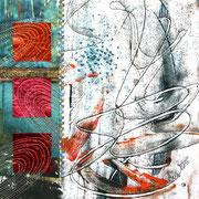 Textilcollage, Monoprint, Paperlamination, hand- und maschinenbestickt, ca. 24 x 24 cm