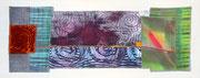 """""""durch die Nacht"""", Textile Collage, Shibori, Monoprint, handgefärbte Stoffe, ca. 15 x 40 cm, 2016, verkauft"""