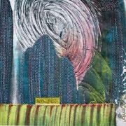 """""""Schattenmond"""", Textilcollage, 19 x 19 cm, Monoprint, Shibori, handgefärbte Stoffe, 2016, verkauft"""