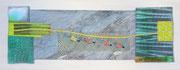 """""""ein weiter Weg"""", Textile Collage, Shibori, Fotodruck, handgefärbte Stoffe, ca. 15 x 40 cm, 2015, verkauft"""