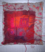 """""""STROMBOLI"""",Wolle gefilzt und bestickt, auf Seide & Keilrahmen aufgezogen, 70 x 100 cm"""