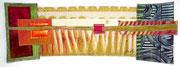 """""""Wurzeln und Flügel"""", Textile Collage, 15 x 40 cm, Shibori, handgefärbte Stoffe, 2017, verkauft"""