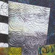Textile Collage, 19 x 19 cm, handgefärbte Stoffe, Digitalprints, 2017
