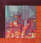 """ENTZÜNDE DAS FEUER / ALLUMEZ LE FEU"", Art-Quilt, handbemalte Seide, kommerzielle Stoffe, 99 x 102 cm"