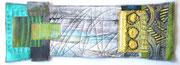 """""""Zwei Seiten"""", Textile Collage, 15 x 40 cm, Monoprint, Shibori, handgefärbte Stoffe, 2016, verkauft"""