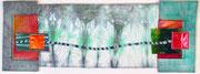 """""""von mir zu dir"""", Textilcollage, 15 x 40 cm, Shibori, handgefärbte Stoffe, Folie, 2016, verkauft"""