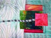 """Textilcollage, """"von mir zu dir"""", Detail"""