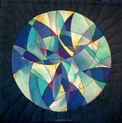 """QUELLE / SOURCE"", Art-Quilt, handbemalte Seide, kommerzielle Stoffe, 120 x 120 cm"