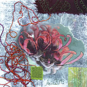 """im Garten #1"", Textile Collage, 19 x 19 cm, Monoprint, 2013"