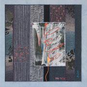 """AUSWEG"" / ""THE WAY OUT"", Textilcollage, kommerzielle Stoffe, Monoprint, auf Keilrahmen 50 x 50 cm, privat"