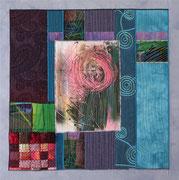 """""""ohne Titel"""", Textilcollage, handgefärbte und kommerzielle Stoffe, Monoprint, auf Keilrahmen 50 x 50 cm, privat"""