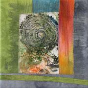 """""""ohne Titel"""", Textilcollage, handgefärbte Stoffe, Monoprint, auf Keilrahmen 30 x 30 cm, verkauft"""