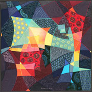"""ERINNERUNGEN / MEMORIES"", Art-Quilt, handbemalte Seide, kommerzielle Stoffe, 110 x 110 cm"