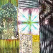 """""""VENUS"""", Textilcollage, handgefärbte Stoffe, Shiborifärbung, Monoprint, Papierlamination, 30 x 30 cm, verkauft"""