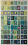"""FRÜHLINGS-MOMENTE / SPRING MOMENTS"", Art-Quilt, kommerzielle Stoffe, Draht, Perlen, Folie, 80 x 125 cm"
