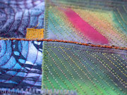 """Textilcollage, """"durch die Nacht"""", Detail"""