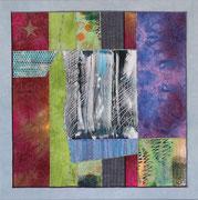 """""""STERNENNACHT"""" / """"STARRY NIGHT"""", Textilcollage, handgefärbte und kommerzielle Stoffe, Monoprint, auf Keilrahmen 50 x 50 cm"""