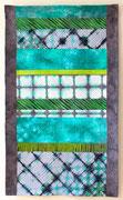 """""""SOMMERFLUSS / SUMMER RIVER"""", Shibori-Art-Quilt, handgefärbte Baumwollstoffe, maschinengequiltet"""
