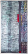 """""""Flow_#1"""", Shibori-Art-Quilt, handgefärbte Stoffe, 76 x 150 cm, 2016, verkauft"""