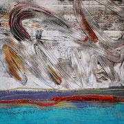 """""""Abends am Meer"""", Textilcollage, Monoprint, handgefärbte Stoffe, 19 x 19 cm, 2016"""