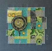 """""""ohne Titel"""", Textilcollage, kommerzielle Stoffe, auf Keilrahmen 40 x 40 cm"""