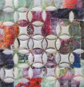 """STAUB IM WIND"", Textilcollage, Bildtransfer, handbemalt, ca. 30 x 30 cm"
