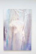 透明ビニール・人体模型において 1940×1303mm パネルに綿布貼り アクリル